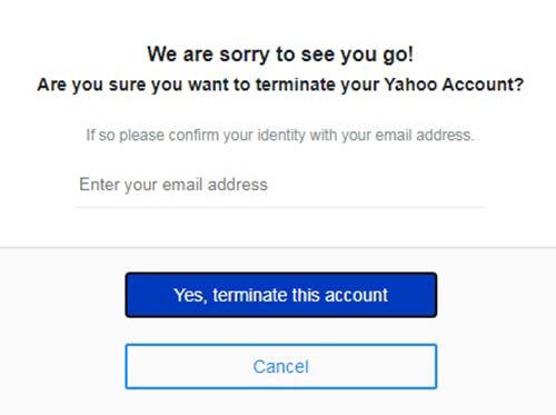 delete yahoo account