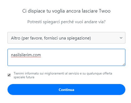disabilitazione dell'account twoo
