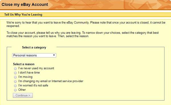 ebay account cancellation