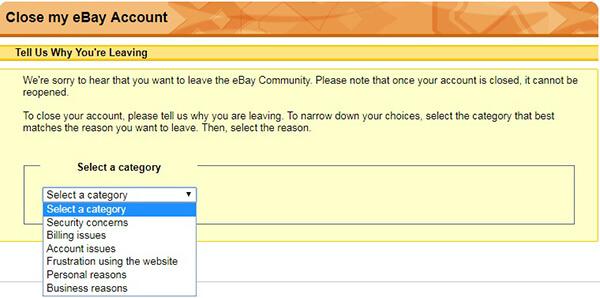 ebay account deletion