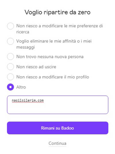 elimina l'account badoo.com