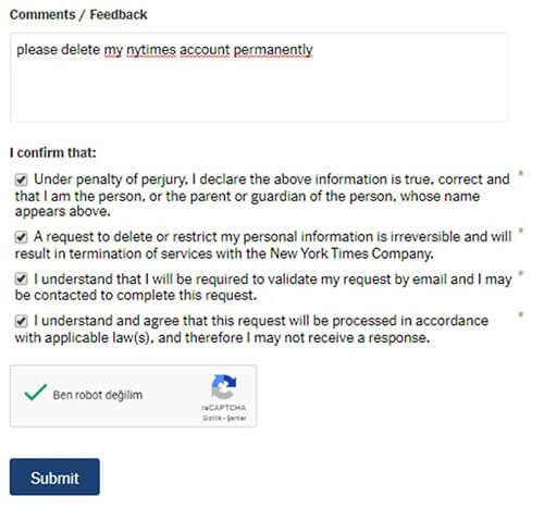 elimina l'account new york times
