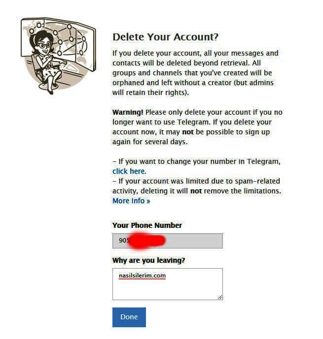 encerramento de conta de telegrama