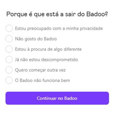 excluir conta badoo.com