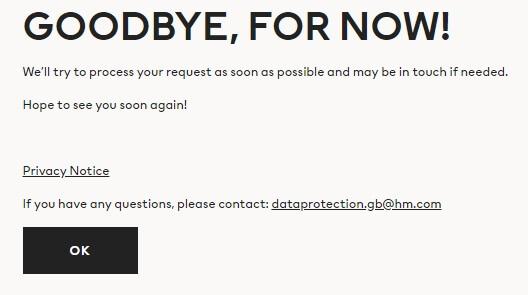 h&m remove account