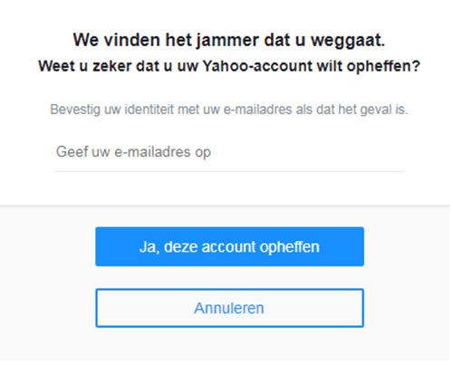 hoe verwijder ik mijn yahoo account