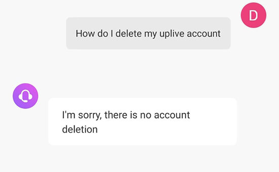 how to delete uplive account