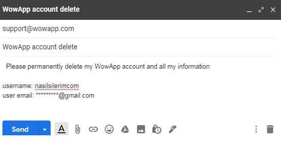 how to delete wowapp account