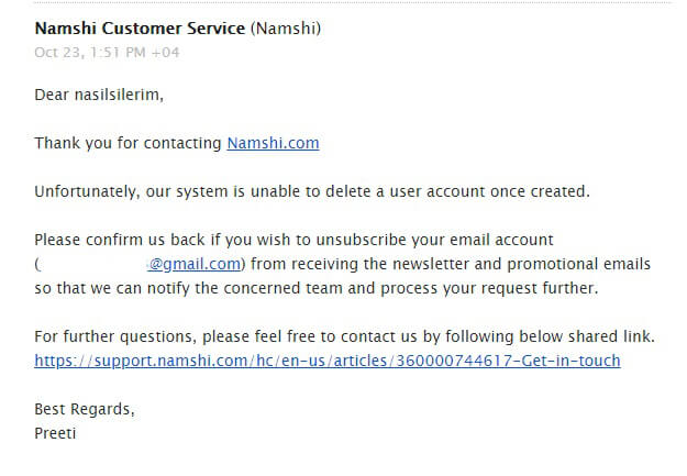namshi account deletion
