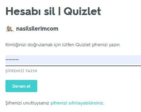 Quizlet Hesap Silme