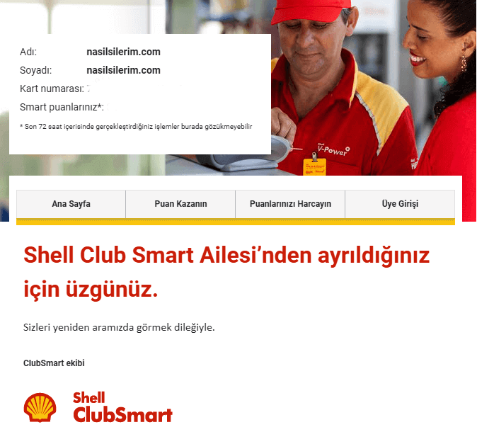 shell smart kart üyelik silme