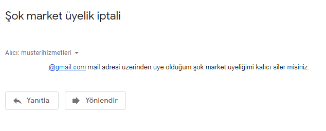 şok market hesap silme