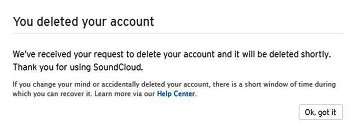 soundcloud account closure