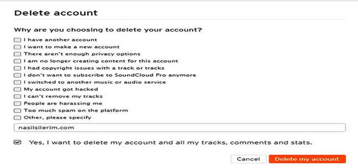 soundcloud account deletion