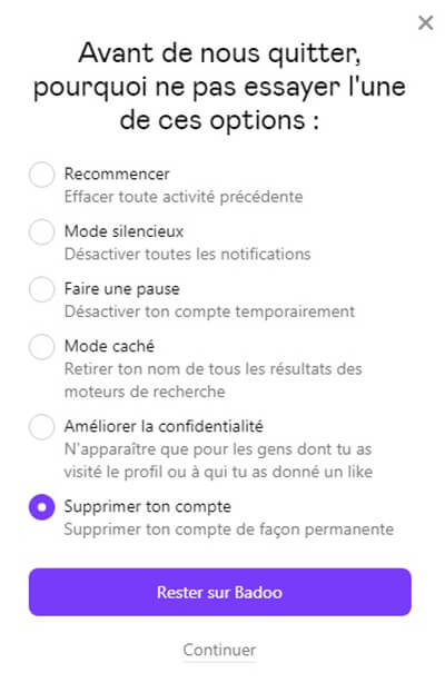 suppression définitive du compte badoo