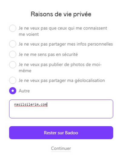 suppression de compte badoo