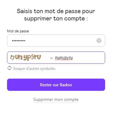 supprimer le compte badoo.com