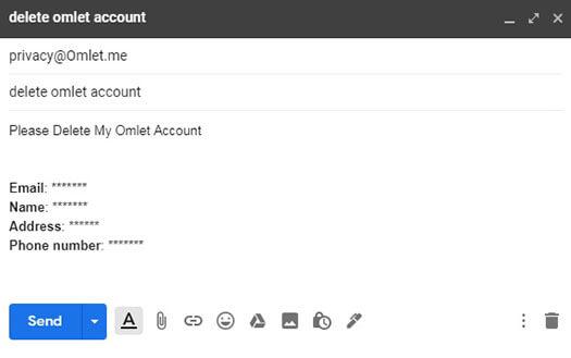 supprimer le compte omlet