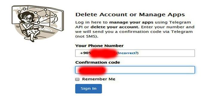 telegram account deletion link