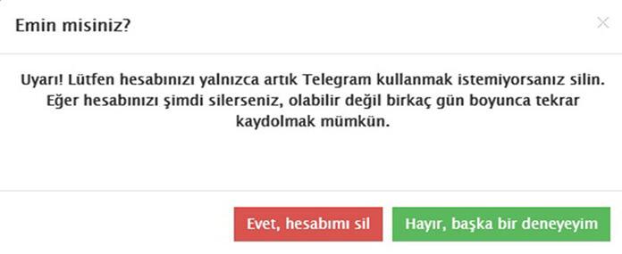 telegram hesap sil