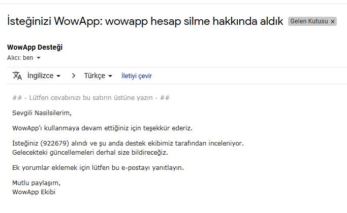 wowapp hesap silme